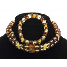 """Ожерелье из янтаря """"Крепость"""" с браслетом в комплекте P05341"""